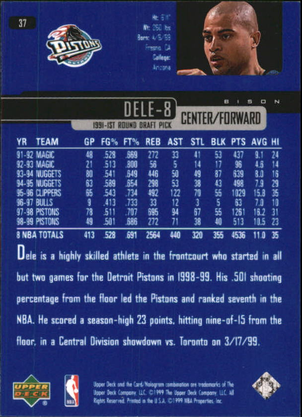 1999-00 Upper Deck #37 Bison Dele back image
