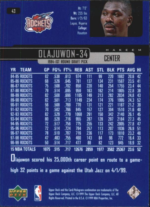 1999-00 Upper Deck #43 Hakeem Olajuwon back image