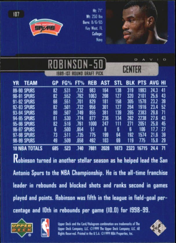 1999-00 Upper Deck #107 David Robinson back image