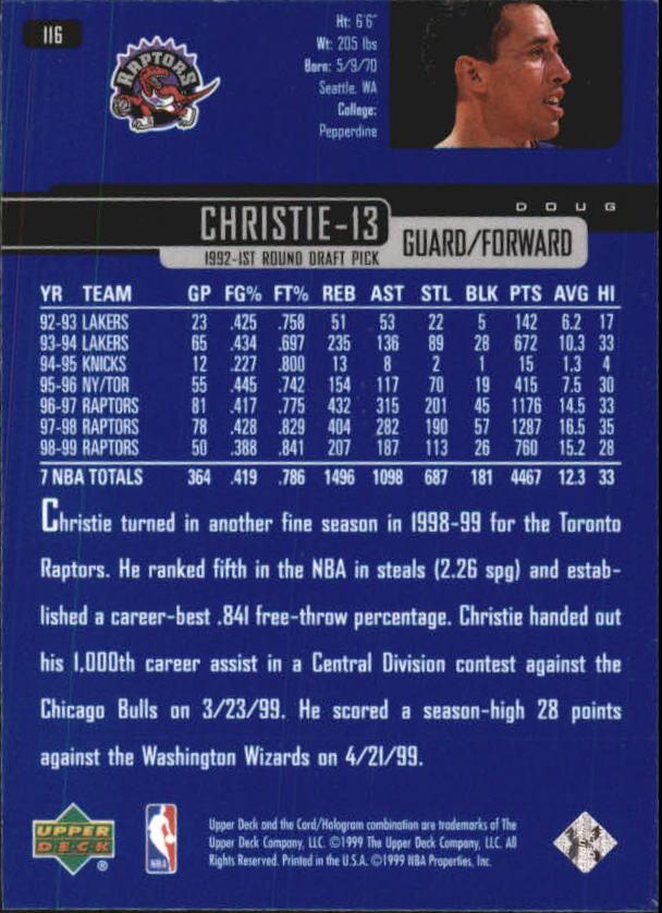 1999-00 Upper Deck #116 Doug Christie back image
