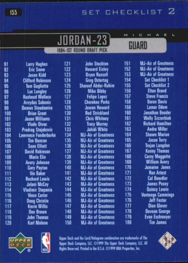 1999-00 Upper Deck #155 Michael Jordan CL back image