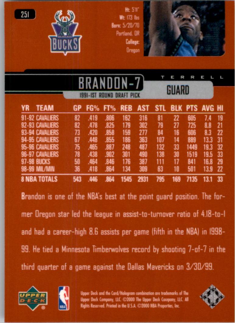 1999-00 Upper Deck #251 Terrell Brandon back image