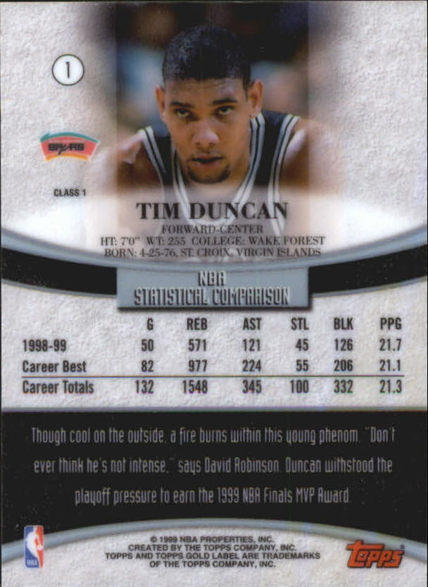 1999-00-Topps-Gold-Label-Class-1-Basketball-Cards-Pick-From-List thumbnail 3