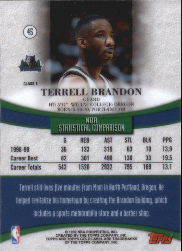 1999-00-Topps-Gold-Label-Class-1-Basketball-Cards-Pick-From-List thumbnail 81
