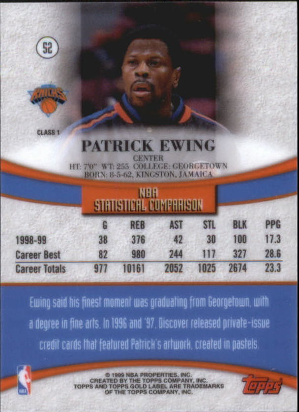 1999-00-Topps-Gold-Label-Class-1-Basketball-Cards-Pick-From-List thumbnail 93