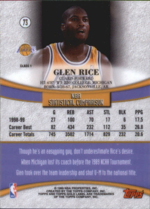 1999-00-Topps-Gold-Label-Class-1-Basketball-Cards-Pick-From-List thumbnail 131