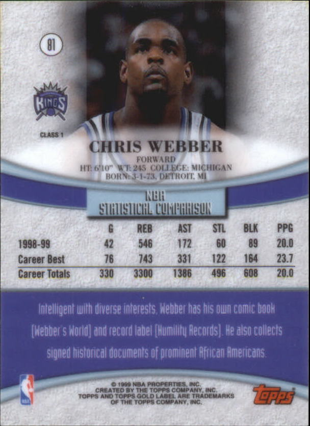 1999-00-Topps-Gold-Label-Class-1-Basketball-Cards-Pick-From-List thumbnail 145