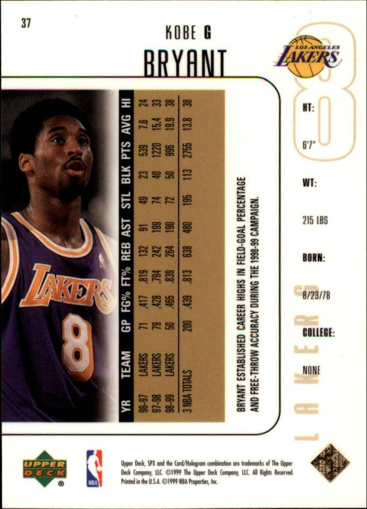 1999-00 SPx #37 Kobe Bryant back image