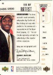 1999-00 SPx #106 Ron Artest AU RC back image