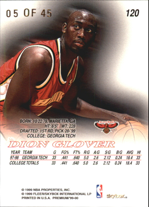 1999-00 SkyBox Premium Star Rubies #120 Dion Glover back image