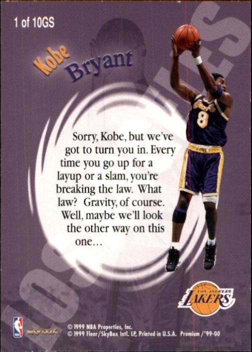 1999-00 SkyBox Premium Good Stuff #1 Kobe Bryant back image