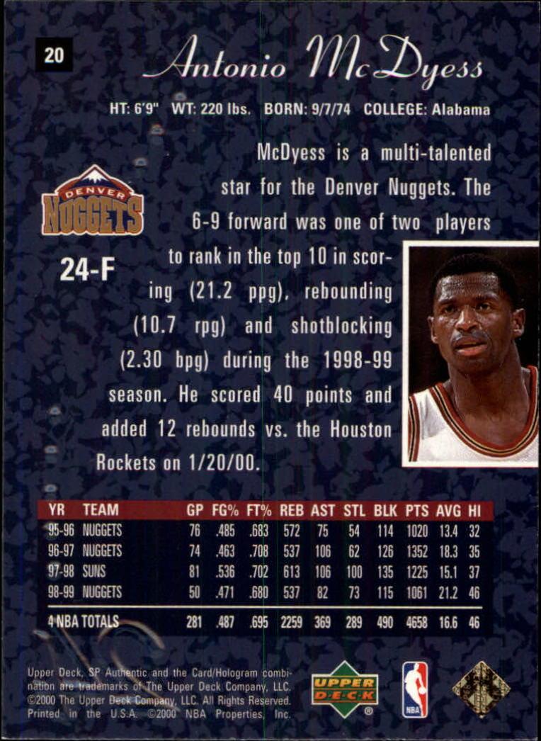 1999-00 SP Authentic #20 Antonio McDyess back image