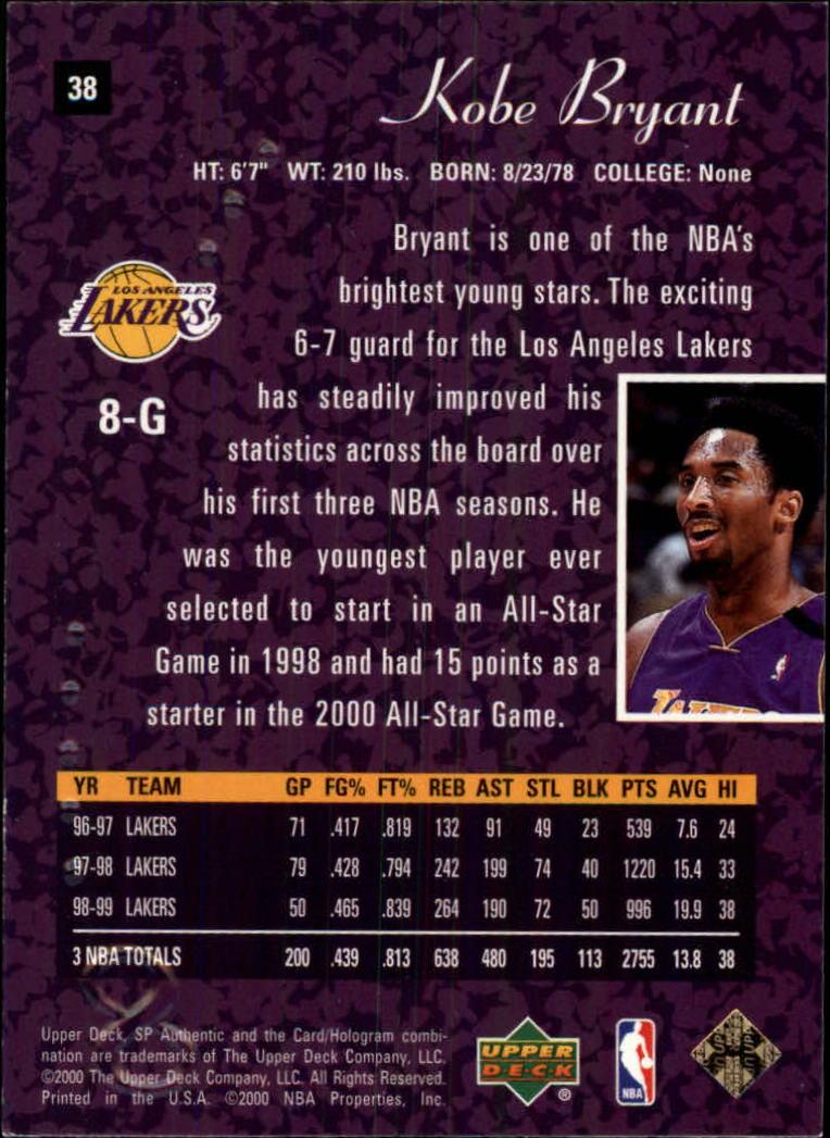 1999-00 SP Authentic #38 Kobe Bryant back image