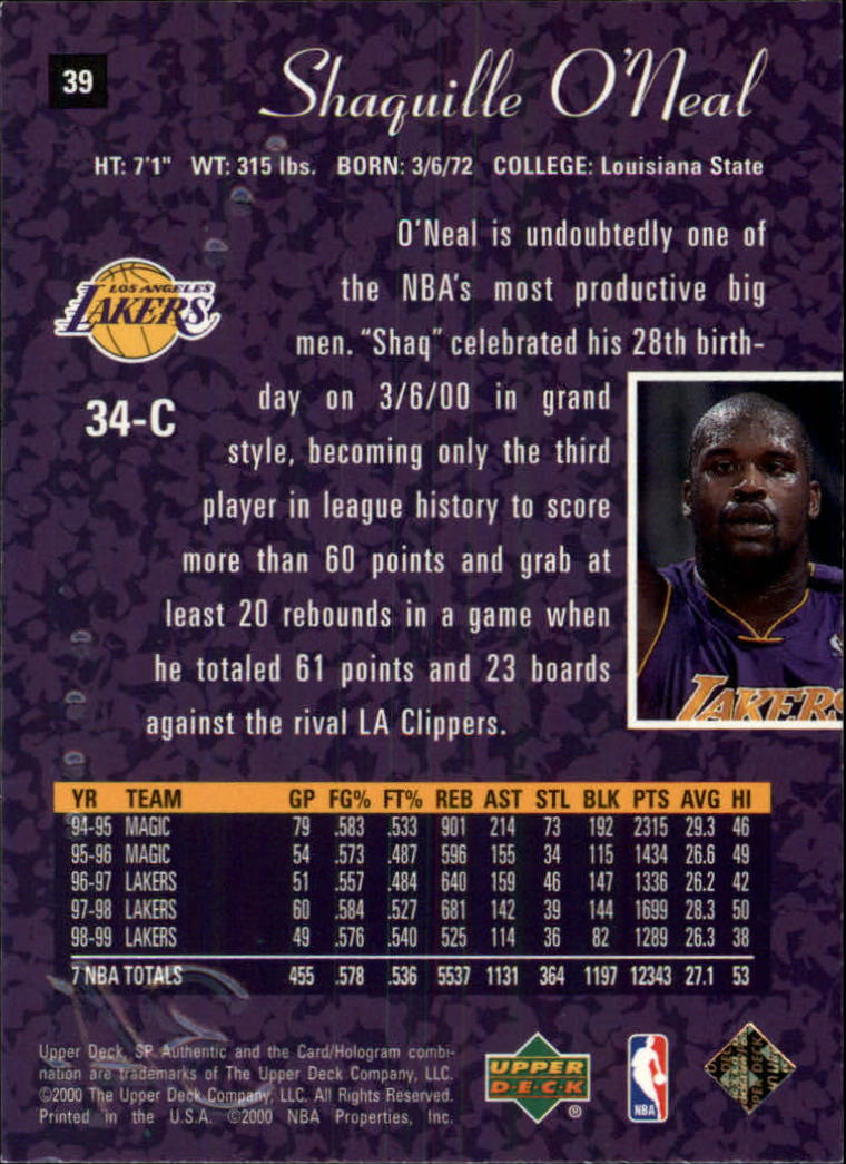 1999-00 SP Authentic #39 Shaquille O'Neal back image