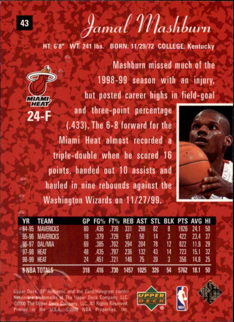 1999-00 SP Authentic #43 Jamal Mashburn back image