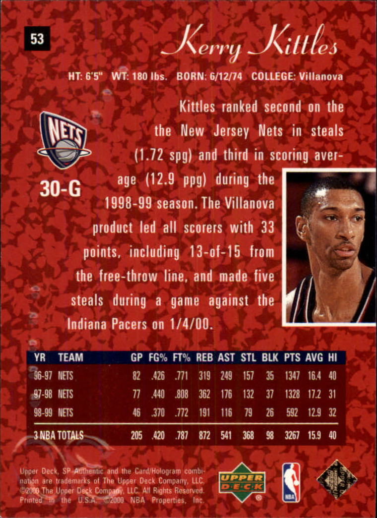 1999-00 SP Authentic #53 Kerry Kittles back image