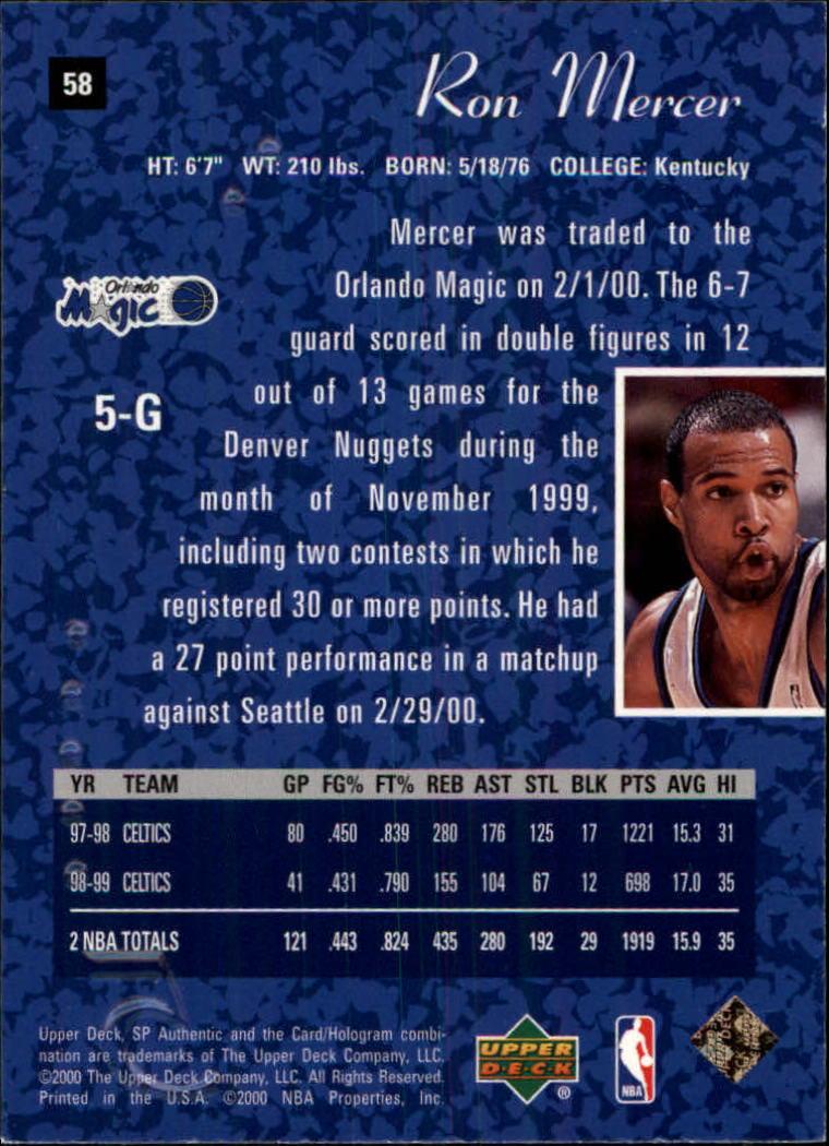 1999-00 SP Authentic #58 Ron Mercer back image