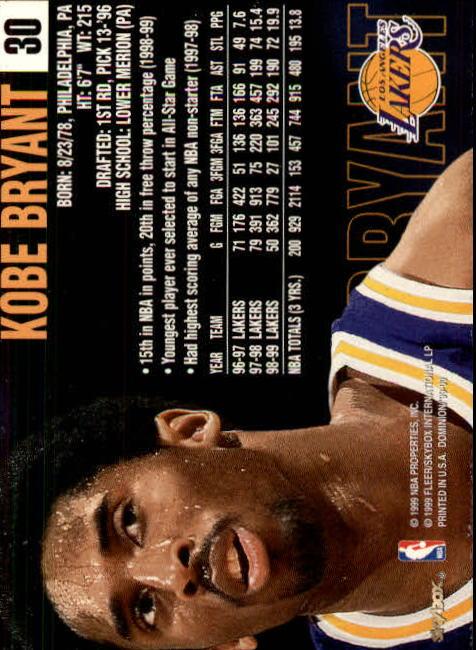 1999-00 SkyBox Dominion #30 Kobe Bryant back image