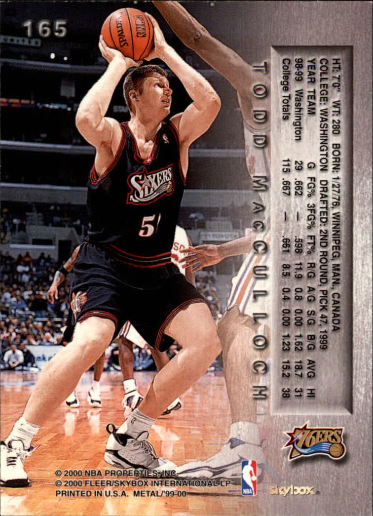 Basketbal 1999-00 Bowman's Best #130 Todd MacCulloch Philadelphia 76ers RC Basketball Card Verzamelingen
