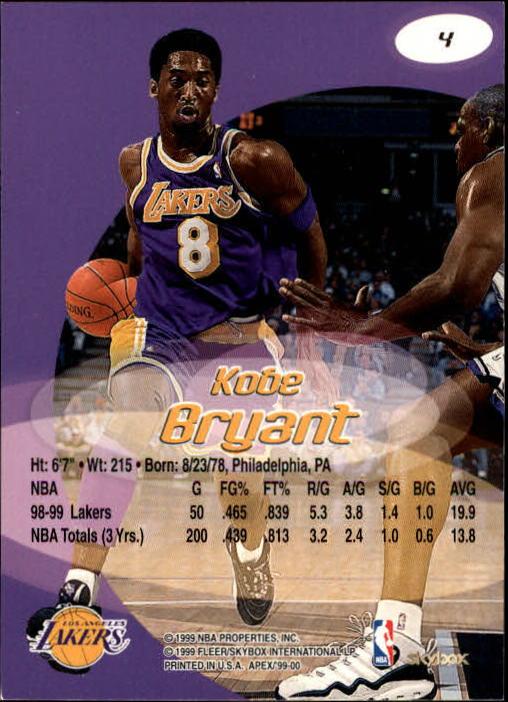 1999-00 SkyBox APEX #4 Kobe Bryant back image