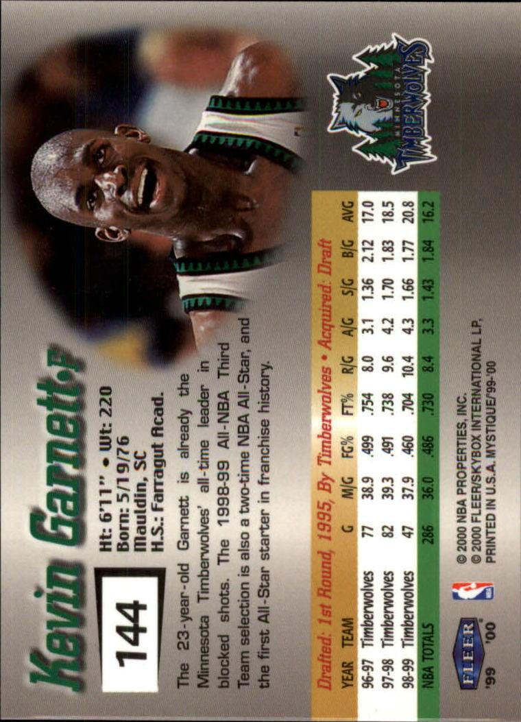 1999-00 Fleer Mystique #144 Kevin Garnett STAR back image