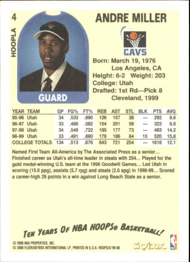 1999-00 Hoops Decade Hoopla #4 Andre Miller back image