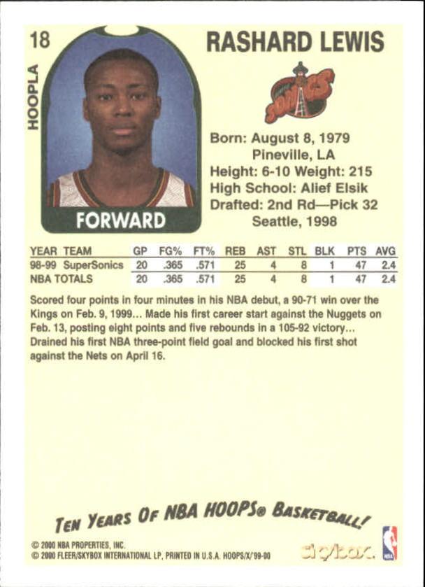 1999-00 Hoops Decade Hoopla #18 Rashard Lewis back image