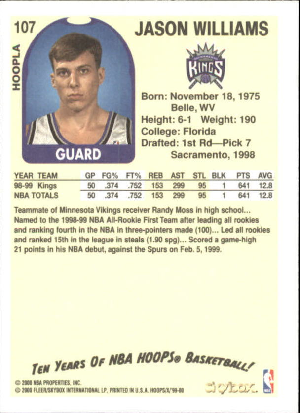 1999-00 Hoops Decade Hoopla #107 Jason Williams back image