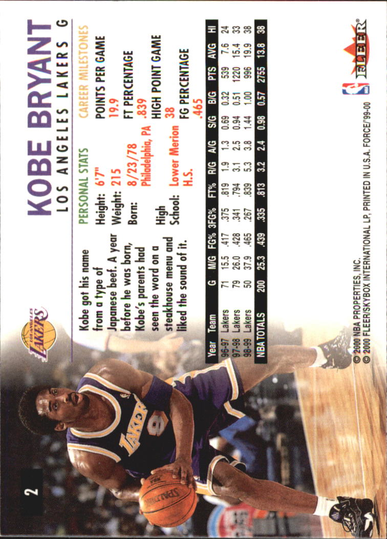 1999-00 Fleer Force #2 Kobe Bryant back image