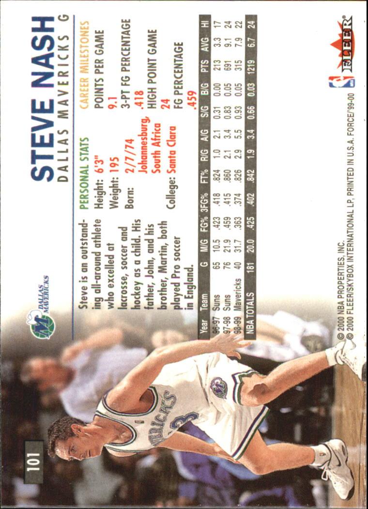 1999-00 Fleer Force #101 Steve Nash back image