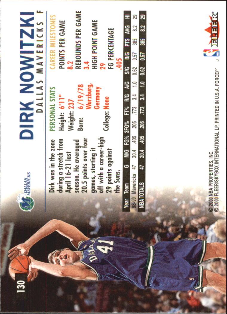 1999-00 Fleer Force #130 Dirk Nowitzki back image