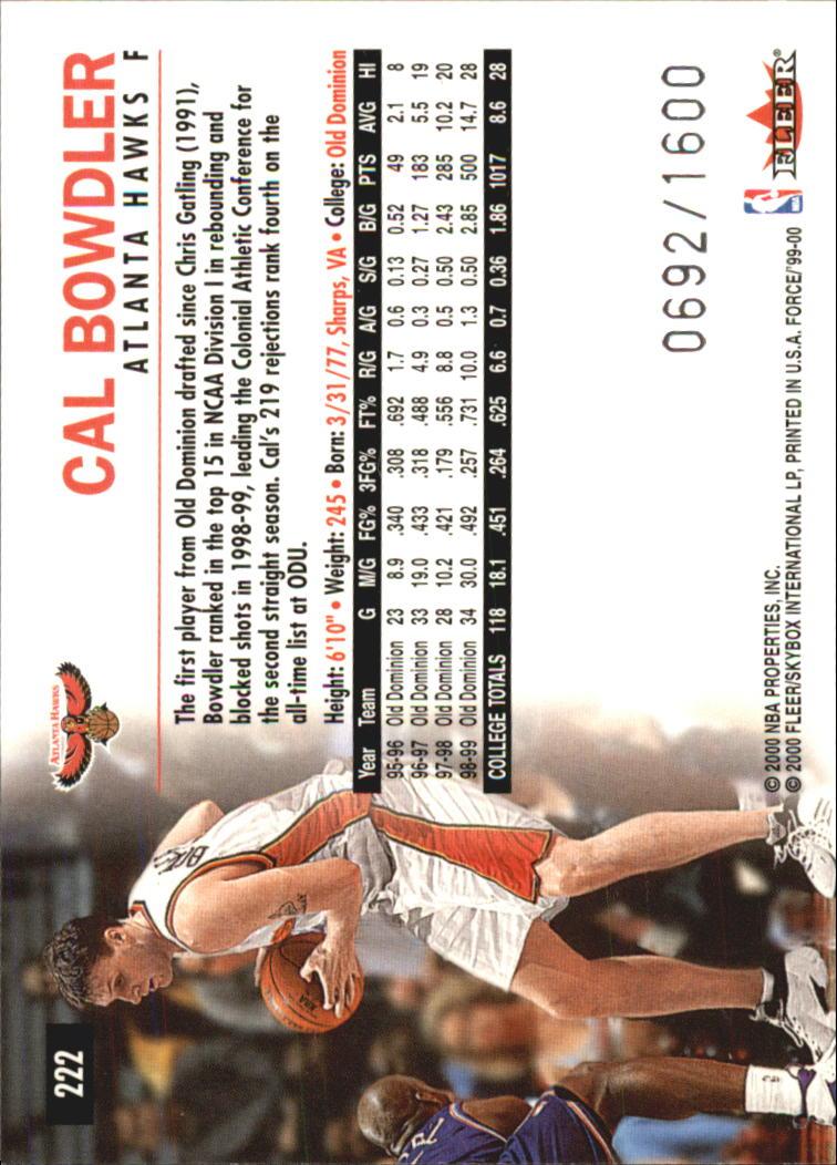 1999-00 Fleer Force #222 Cal Bowdler RC back image
