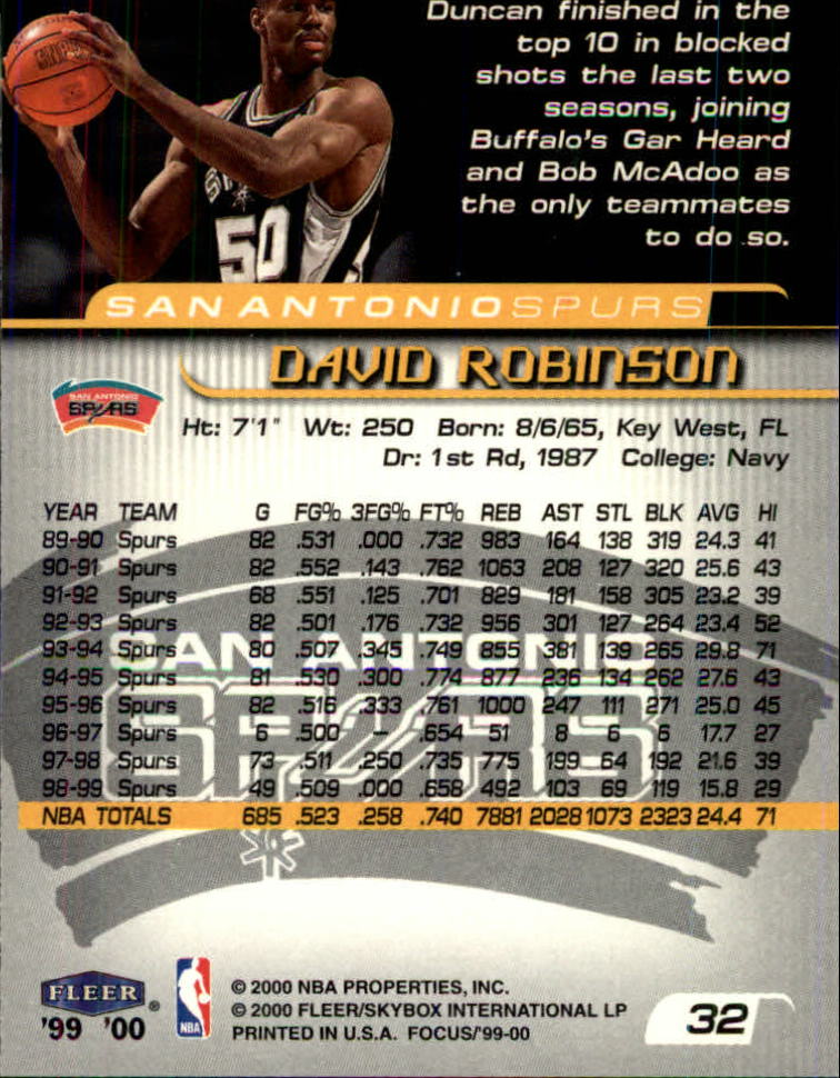 1999-00 Fleer Focus #32 David Robinson back image