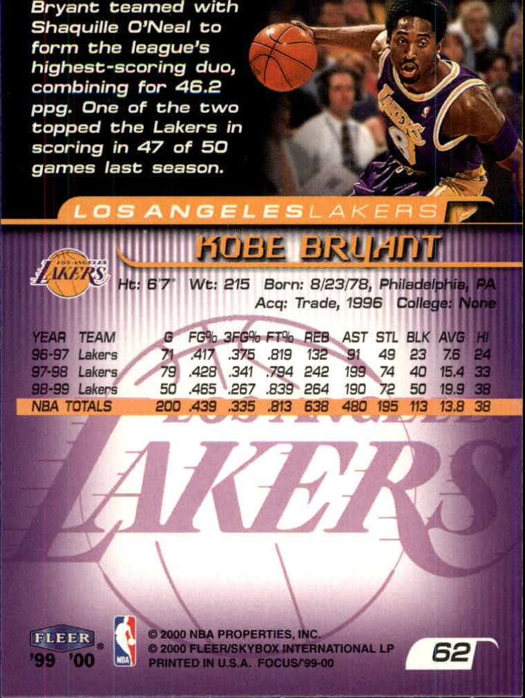 1999-00 Fleer Focus #62 Kobe Bryant back image