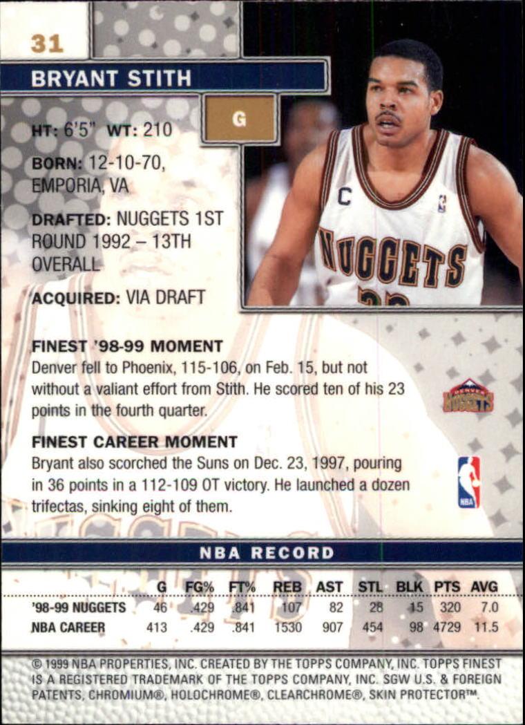 1999-00 Finest #31 Bryant Stith back image
