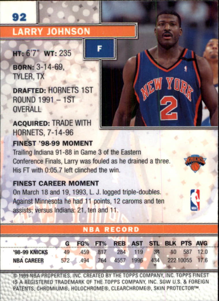 1999-00 Finest #92 Larry Johnson back image