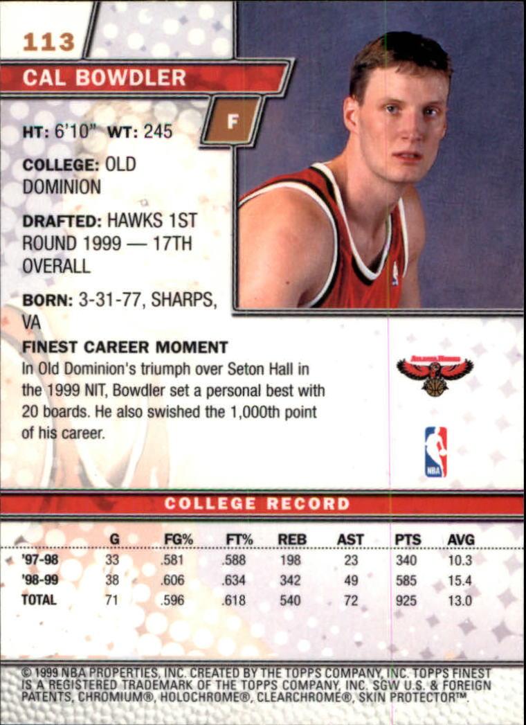 1999-00 Finest #113 Cal Bowdler RC back image