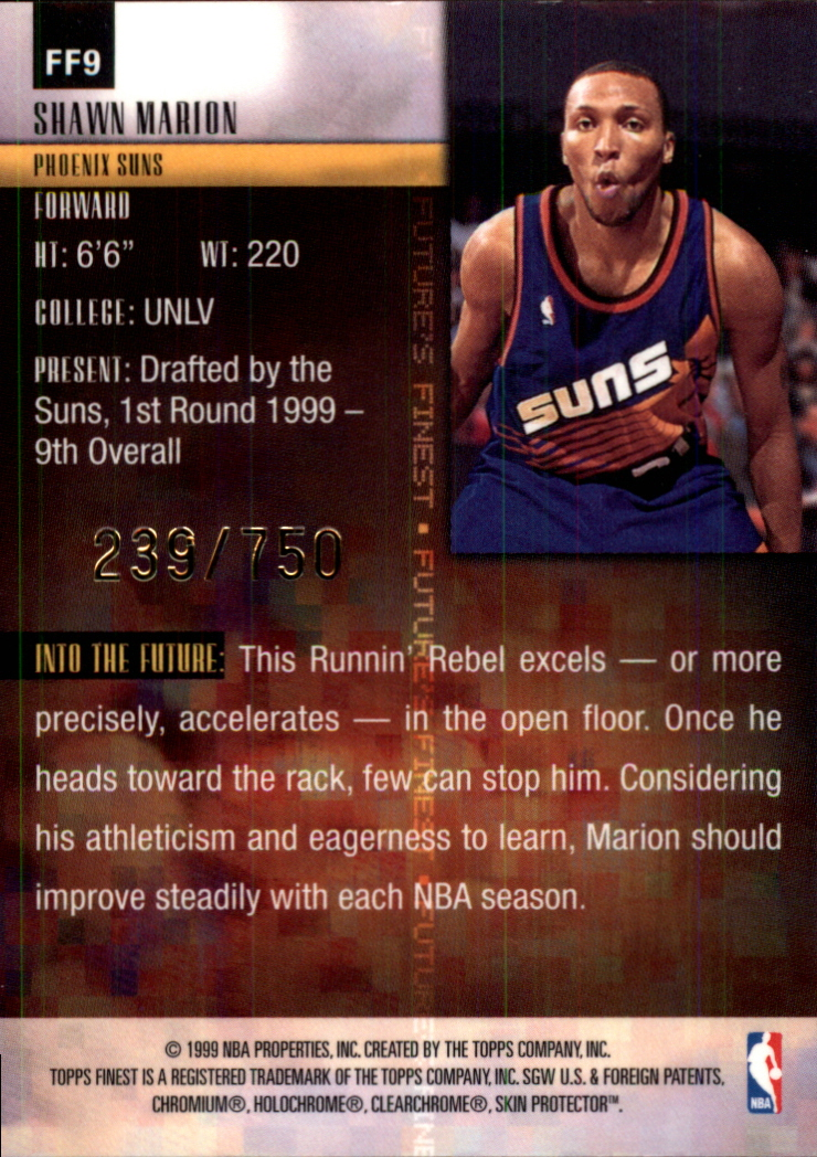 1999-00 Finest Future's Finest #FF9 Shawn Marion back image