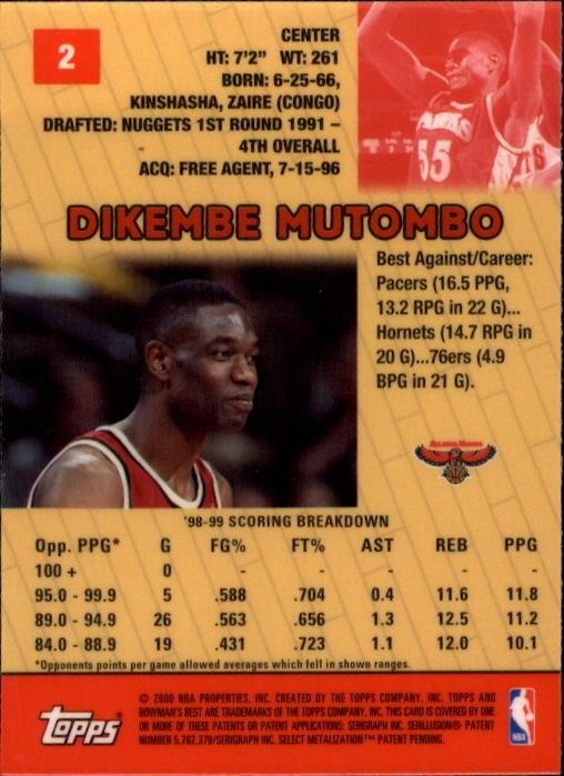 1999-00 Bowman's Best #2 Dikembe Mutombo back image