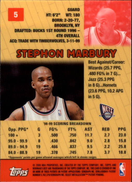 1999-00 Bowman's Best #5 Stephon Marbury back image