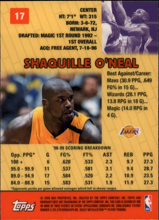 1999-00 Bowman's Best #17 Shaquille O'Neal back image