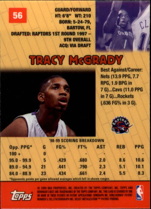 1999-00 Bowman's Best #56 Tracy McGrady back image