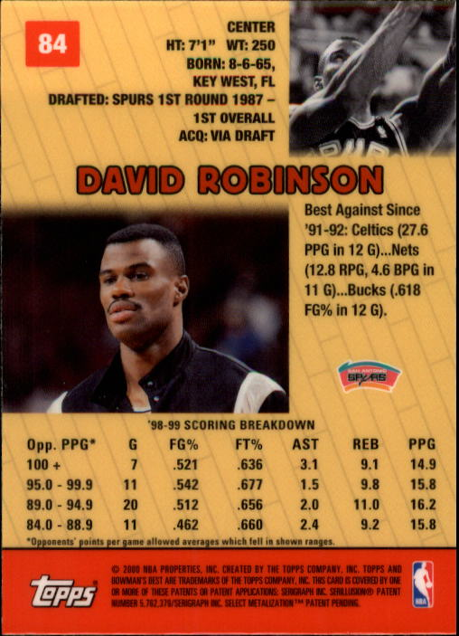 1999-00 Bowman's Best #84 David Robinson back image