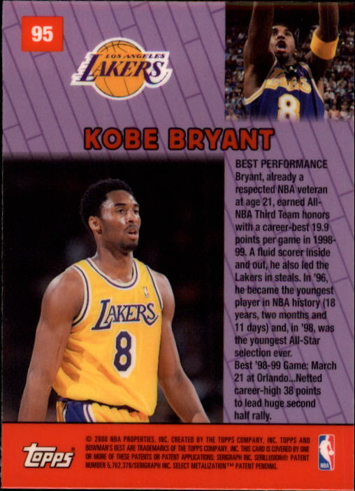 1999-00 Bowman's Best #95 Kobe Bryant BP back image