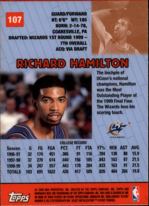 1999-00 Bowman's Best #107 Richard Hamilton RC back image