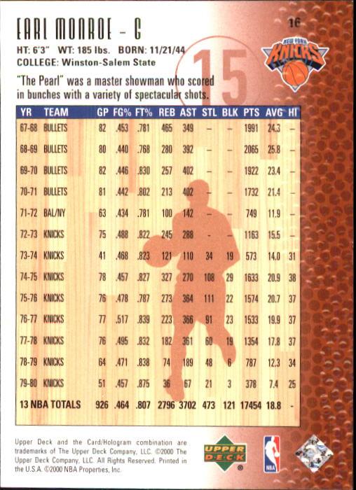 2000 Upper Deck Century Legends #16 Earl Monroe back image