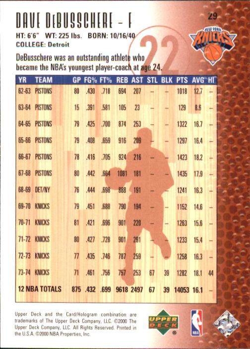 2000 Upper Deck Century Legends #29 Dave DeBusschere back image