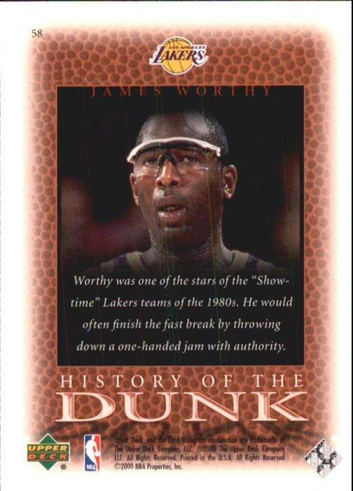 2000 Upper Deck Century Legends #58 James Worthy HD back image