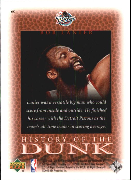 2000 Upper Deck Century Legends #60 Bob Lanier HD back image