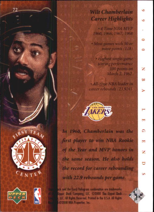 2000 Upper Deck Century Legends #72 Wilt Chamberlain UDT back image
